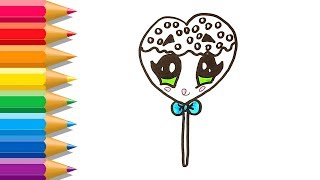 How to Draw A Heart Lollipop | Cute Lollipop Coloring Pages | Learn Colors for Kids