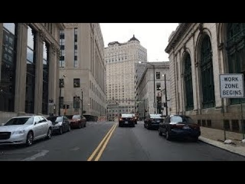 Driving Downtown - Detroit Michigan USA