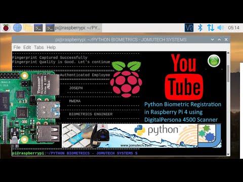 Raspberry Pi Python Biometric Enrollment and Registration using a DigitalPersona 4500 Finger Scanner