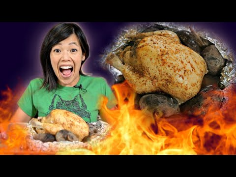 Can You Cook a Chicken with HOT ROCKS ?🔥