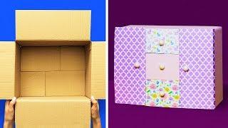 як зробити шафу для ляльок з коробки під взуття