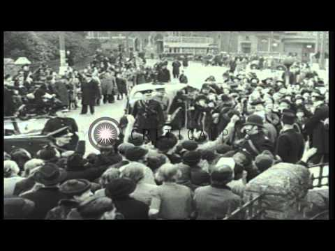 Prime Minister Churchill visits Bristol England during the Blitz in 1941 HD Stock Footage