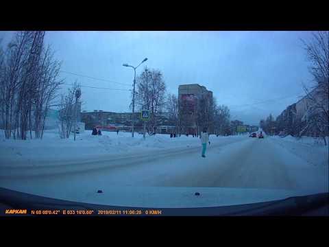 машина ГИБДД не пропустила пешехода в Оленегорске