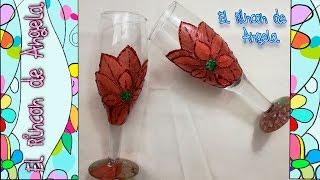 DECOUPAGE EN CRISTAL. Como decorar copas de cristal, Dos formas distintas de hacer decoupage