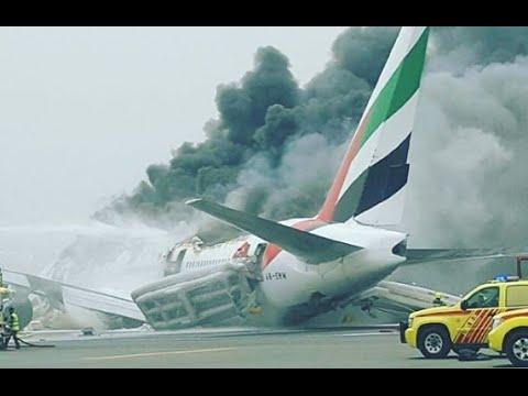 Emirates jet crash-lands in Dubai, engulfed in flames