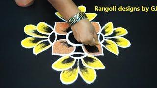 Simple Rangoli 8X2 Dots Navratri rangoli Special designs Colourful rangoli designs kolam designs