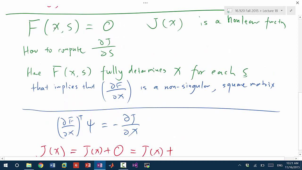 MIT Numerical Methods for PDEs Lecture 18: Adjoint Sensitivity Analysis of  Nonlinear Systems