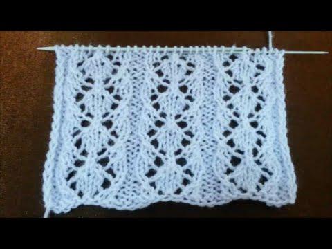 Hexagon Diamond Lace Stitch Knitting Pattern 20 Youtube