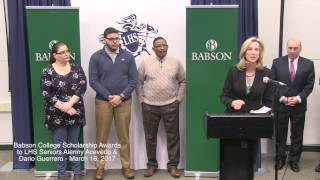 LHS Seniors receive scholarships from Babson College.