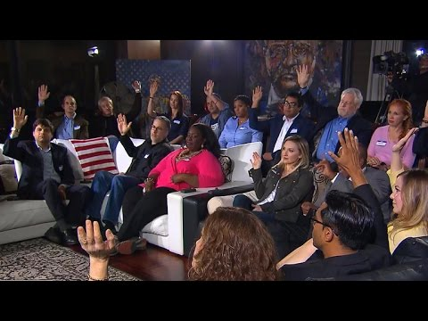 Thumbnail: Poll group gets heated giving opinions on Trump speech