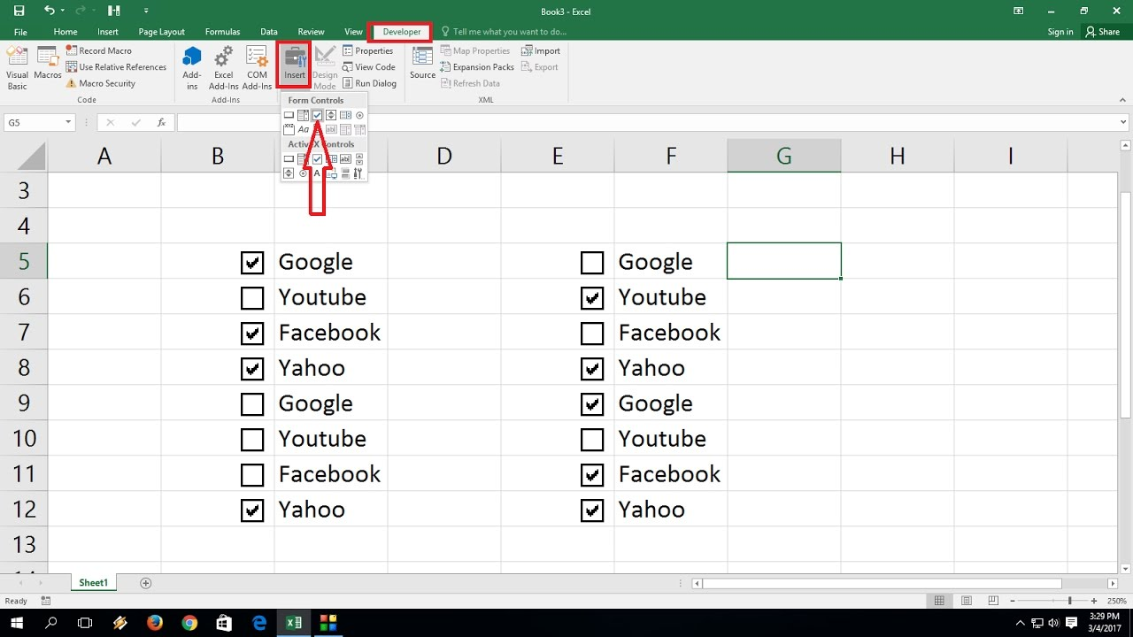 How To Add Check Boxes In Ms Excel Sheet Easy Youtube
