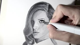 Copic Markers Portrait Drawing - Lana del Rey Time Lapse