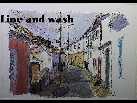 Line and wash urban sketch Ouro preto city in Brasil By Nil Rocha