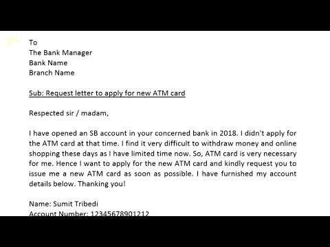 Application To Bank Manager For New Atm Card Youtube