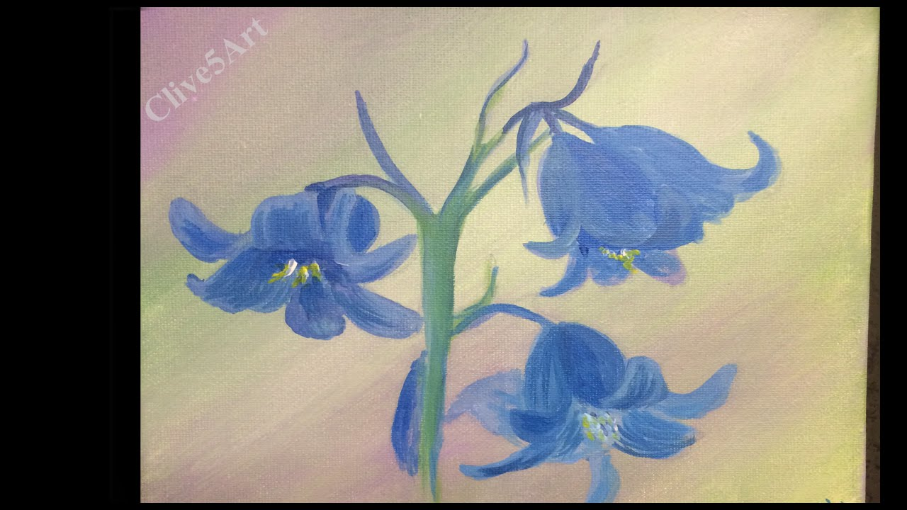 Blue bells floral painting learn to paintflowers acrylic painting for beginners youtube
