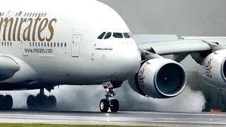 "Emirates / Airbus a380 ""SuperJumbo"" Landing at a Wet rwy at Manchester (Full HD1080p)"