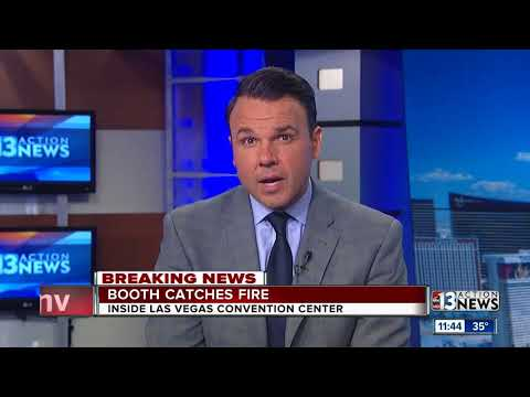 Booth catches fire at Las Vegas Convention Center