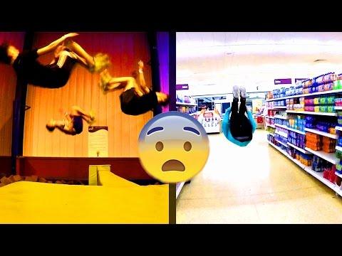 BACK FLIP IN SUPERMARKET (GONE WRONG)   Jump in Vlog