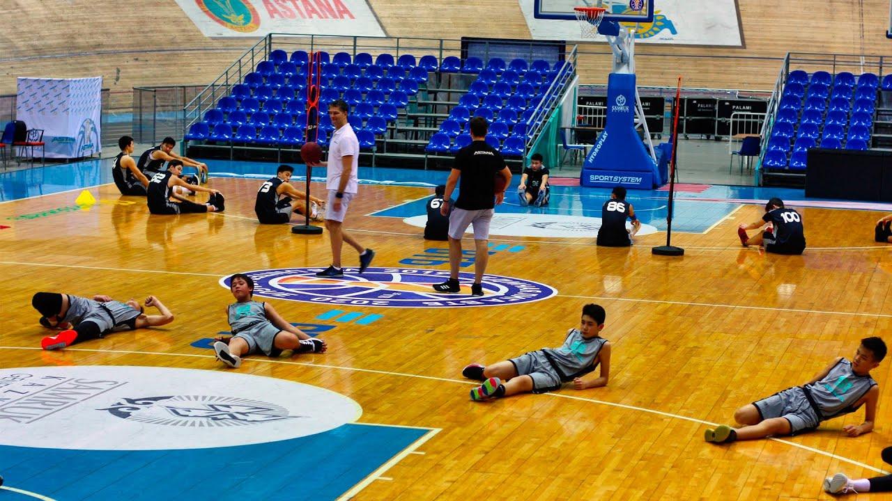 Первая тренировка детской академии баскетбола «Астана» на ...