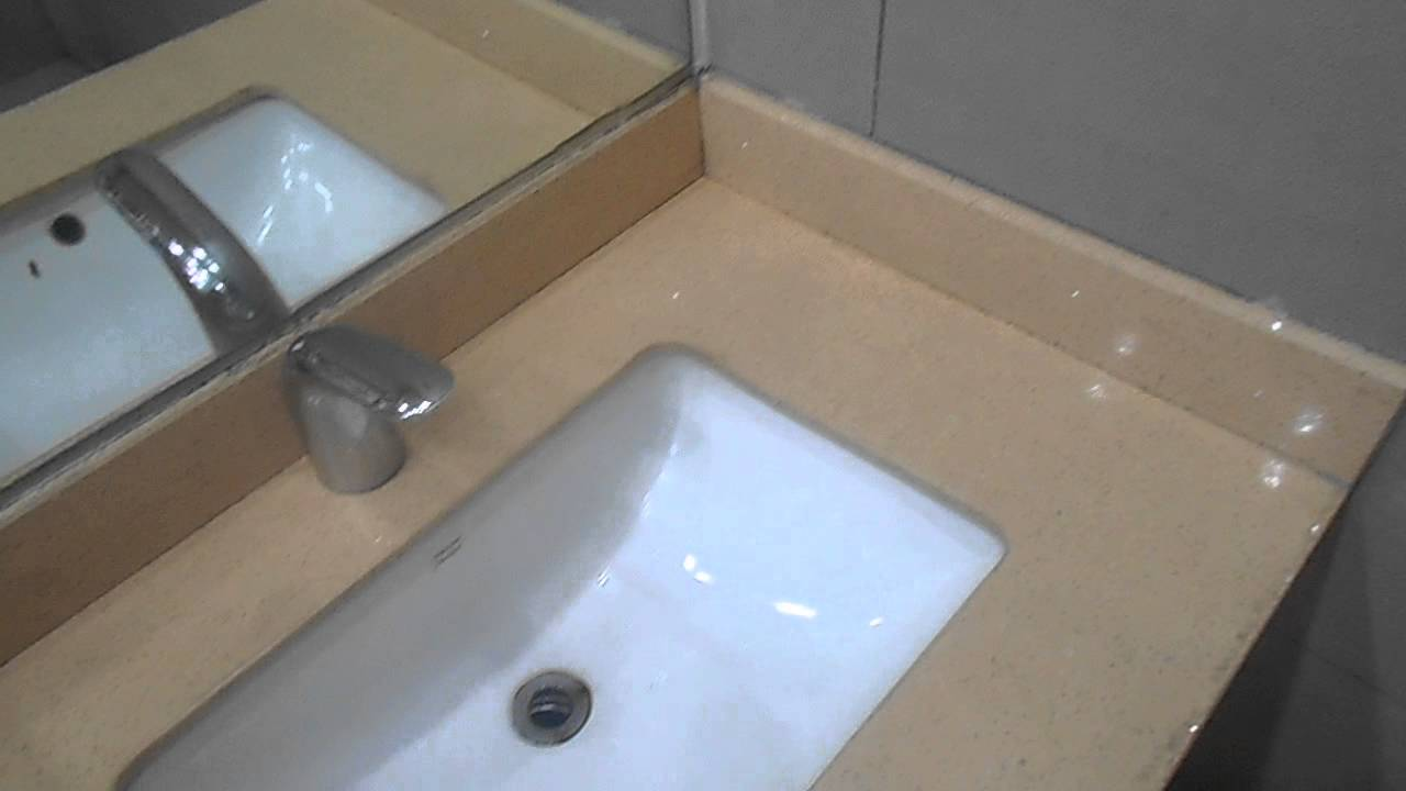 Beige engineered quartz bathroom vanity top youtube for Bathroom quartz vanity tops