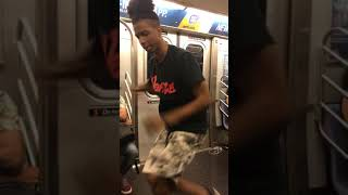 Subway creatures  guy dancing spinning subway pole music