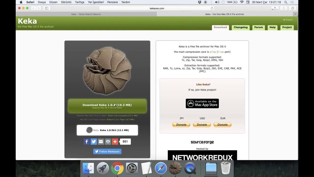 Mac Os X Rar Zip 7z Tar Gzip Bzip2 formatlarında dosya sıkıştırmak ve  şifreleme