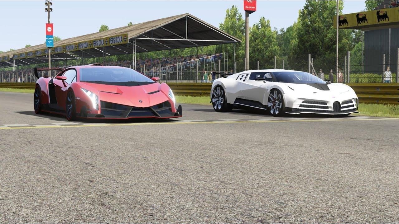 Lamborghini Veneno vs Bugatti Centodieci at Monza Full Course