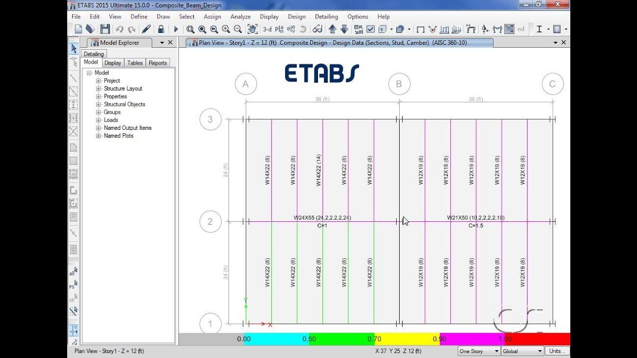 Etabs 16 Composite Beam Design Watch Amp Learn Youtube