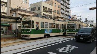 広島電鉄700形703号&700形704号 宇品二丁目発車