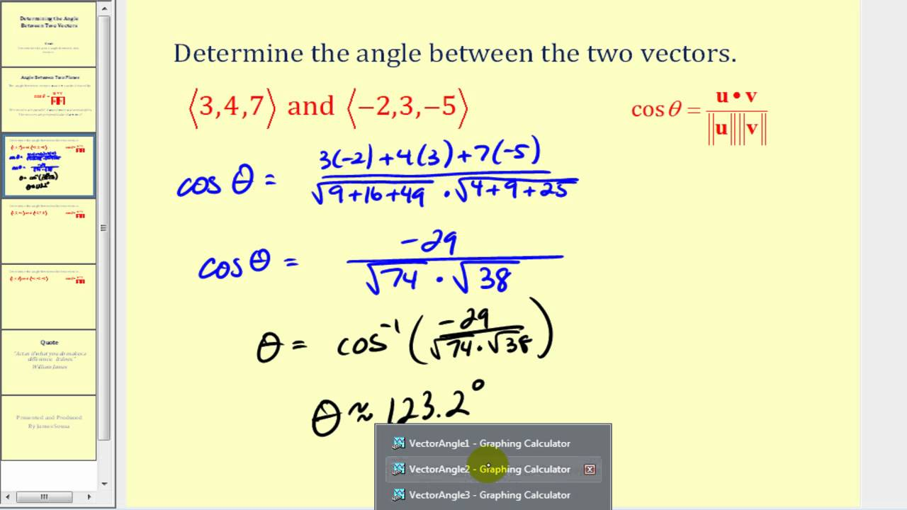Determining the Angle Between Two Vectors