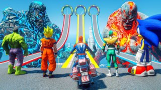SPIDERMAN Found Biggest TITAN Challenge   Hulk, Sonic MotorBike Racing Challenge #151