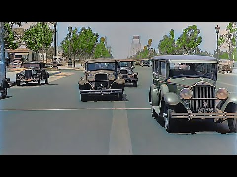 Los Angeles California 1935 | Wilshire Blvd | No Homeless On The Street In Sight  (Remastered)