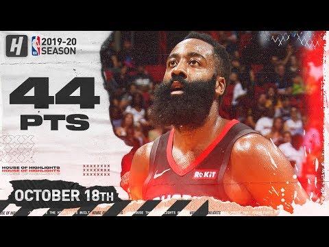 James Harden SICK Full Highlights Vs Miami Heat 2019.10.18 - 44 Points, 8 Threes!