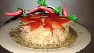 """Эксклюзивный рецепт!Вкуснейший салат с крабовым мясом """"Жемчужинка"""".С плавленным сыром,соевым соусом"""