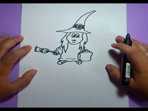 Como dibujar una bruja paso a paso 4  How to draw a witch 4  YouTube