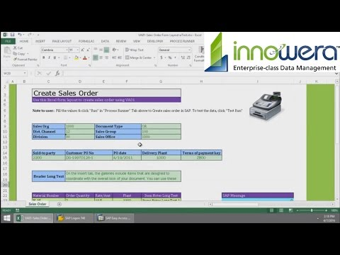 VA01 - Create Sales Order From Excel
