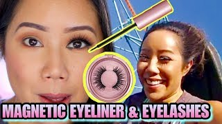 HOW TO APPLY MAGNETIC EYELINER & LASHES - ROLLER COASTER TESTED! MAGNETIC LINER & LASHES REVIEW