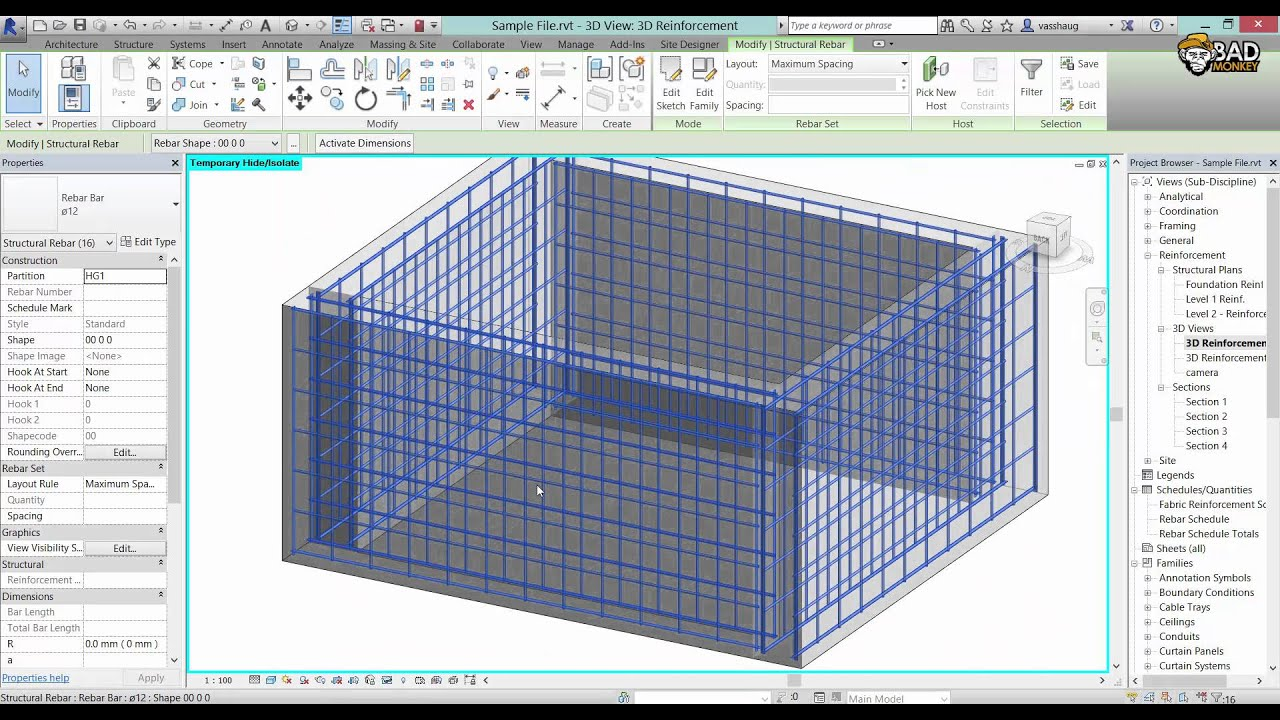 reinforcing of simple concrete structure in revit 2015