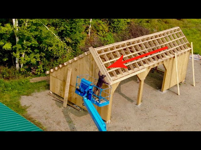 Using the BEST Hacks to INSTALL Fly RAFTERS Solo 20x36 Post & Beam Garage Build #19