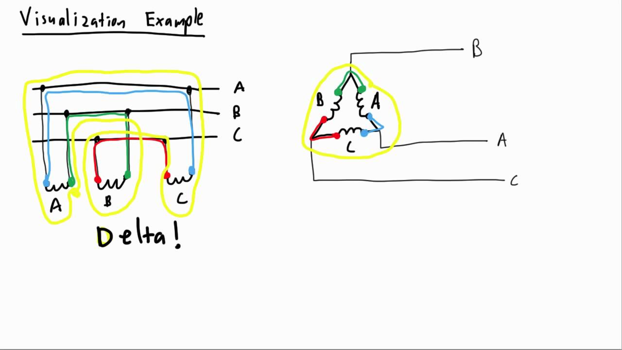 electrical pe exam visualizing connections delta wye youtube rh youtube com Star Delta Starter Diagram Star Delta Starter