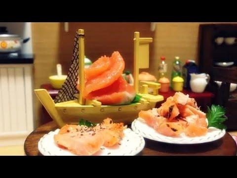 Miniature Food#56 Salmon Steak & Sashimi - Cooking ミニチュア ...