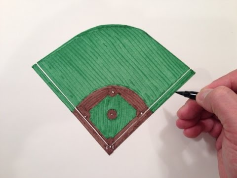 How To Draw A Baseball Field Youtube