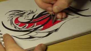 Рисунки гелевой ручкой #1: Дракон(Как нарисовать дракона. Рисуем дракона гелевыми ручками. Подписывайтесь на новые видео. Наша группа ВКонта..., 2014-02-01T19:12:59.000Z)
