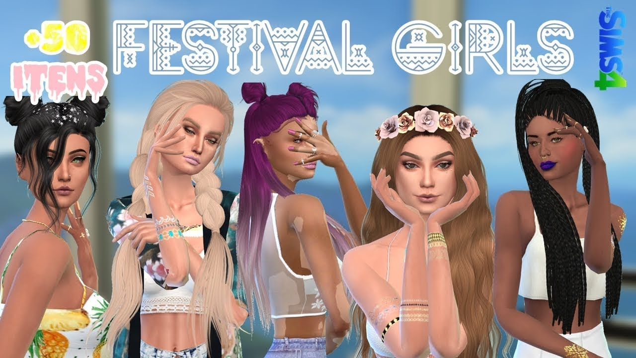 The Sims 4 - Pack Roupas Tumblr // Tumblr Clothes (Coachella Inspired) + CC  List
