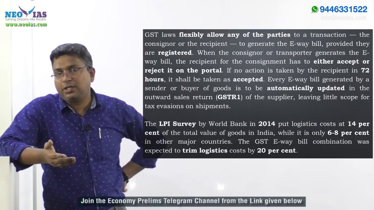 E-WAY BILL | 2018 PRELIMS IMPORTANT MODEL QUESTION SOLVED | ECONOMY GURU |  NEO IAS