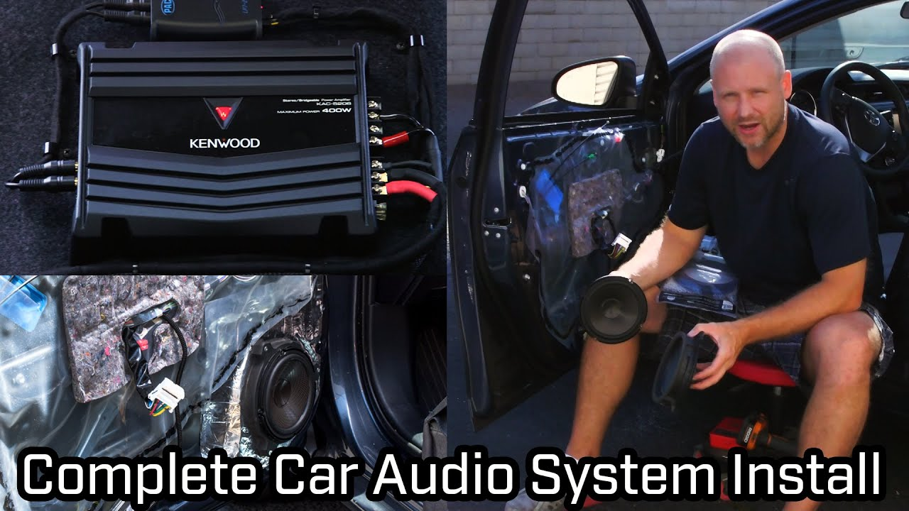 full car audio system installation speakers subwoofer and amplifier [ 1280 x 720 Pixel ]