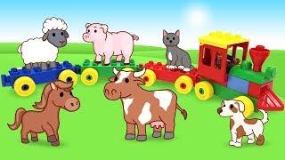 Учим Животных для малышей - Детская песня про Поезд и животных