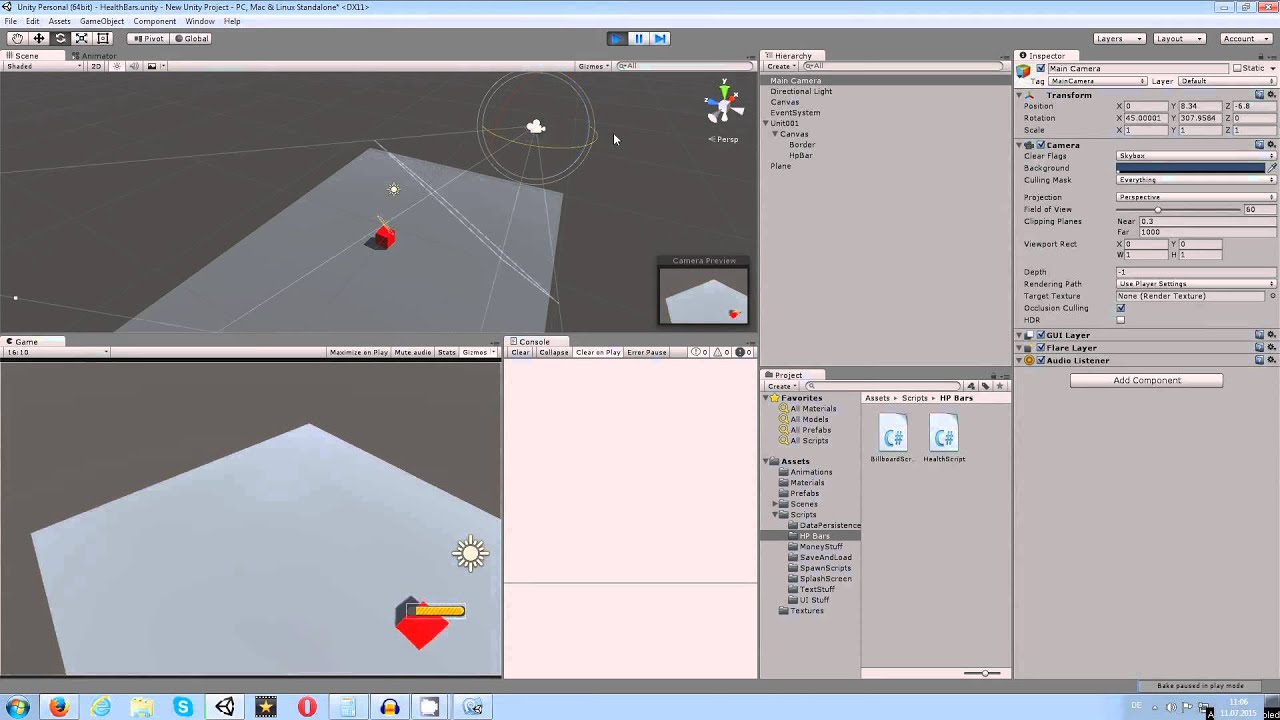 Unity 5 Tutorial: Healthbar Look To Camera C#