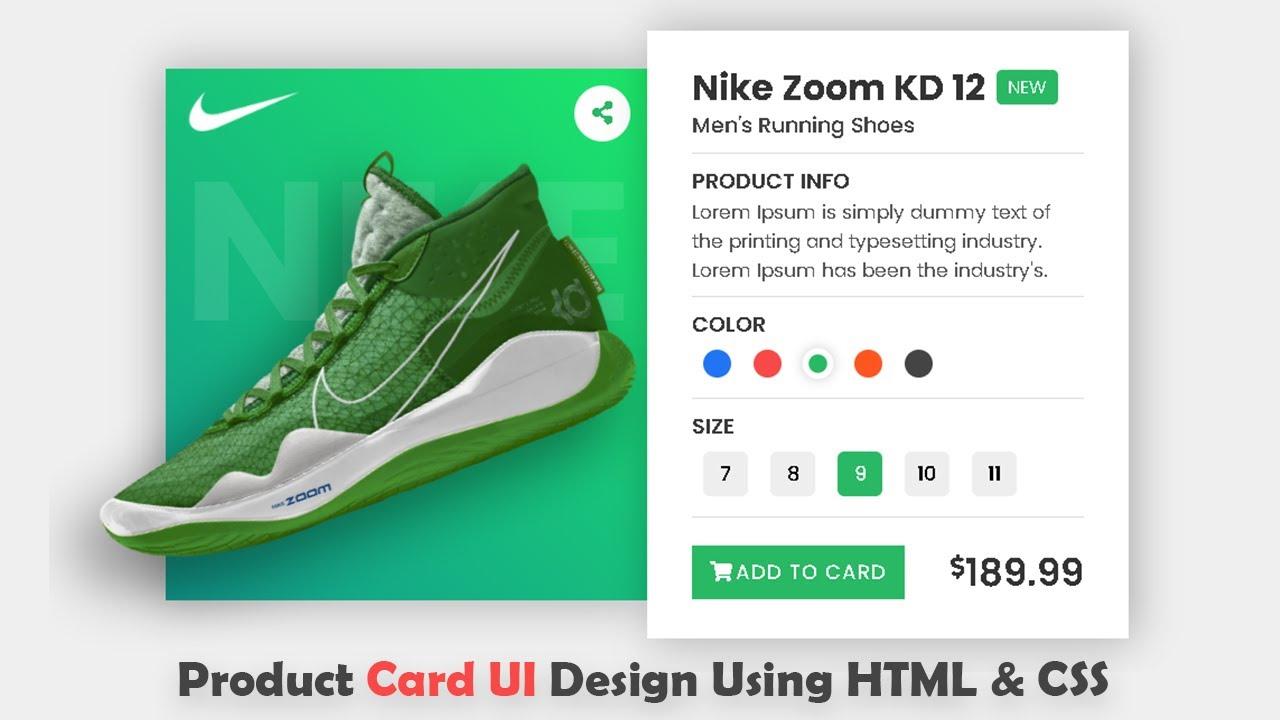Responsive Product Card UI Design Using HTML CSS & JS