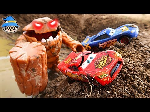 Finding Disney Car Colors. Mud monsters and mud puddles. Lightning McQueen vehicles.